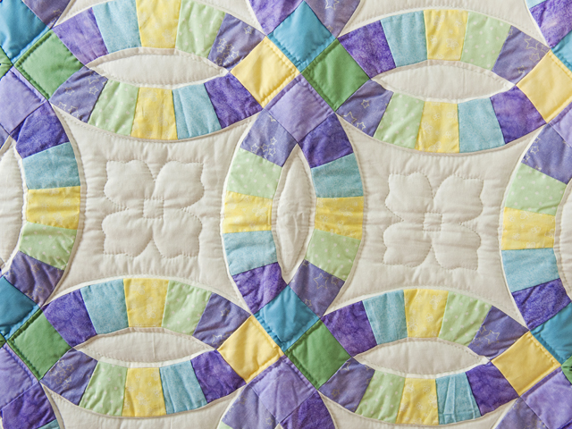 Purple, Pastel and White Wedding Ring Crib Quilt Photo 2