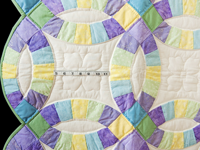 Purple, Pastel and White Wedding Ring Crib Quilt Photo 3