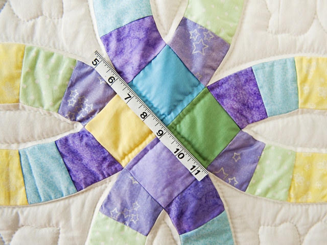 Purple, Pastel and White Wedding Ring Crib Quilt Photo 4