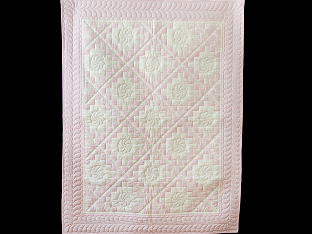 Soft Pink and White Irish Chain Crib Quilt Photo 1