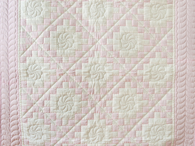 Soft Pink and White Irish Chain Crib Quilt Photo 2