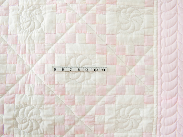Soft Pink and White Irish Chain Crib Quilt Photo 3