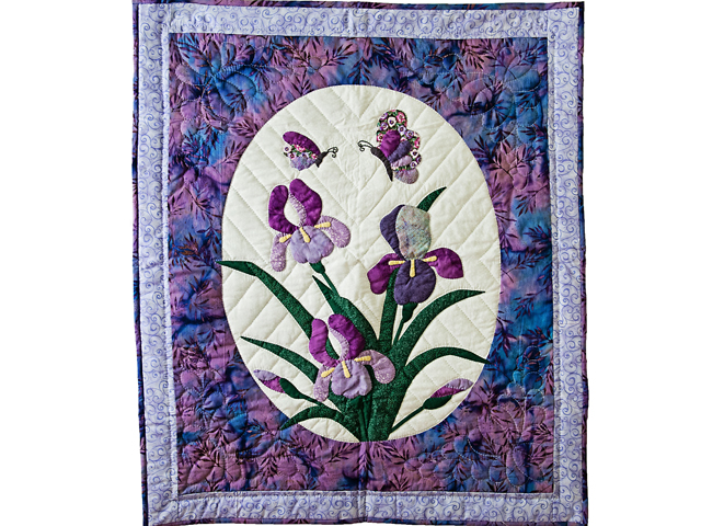 Lavender Blue Iris Appliqué Wall Hanging Photo 1