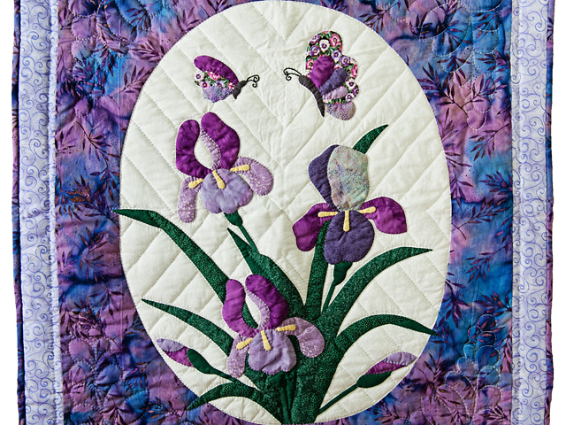 Lavender Blue Iris Appliqué Wall Hanging Photo 2