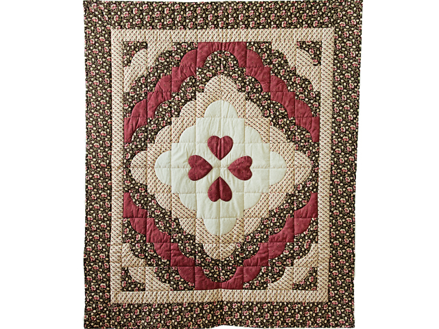 Rose, Brown & Cream Ocean Wave And Hearts Quilt Photo 1