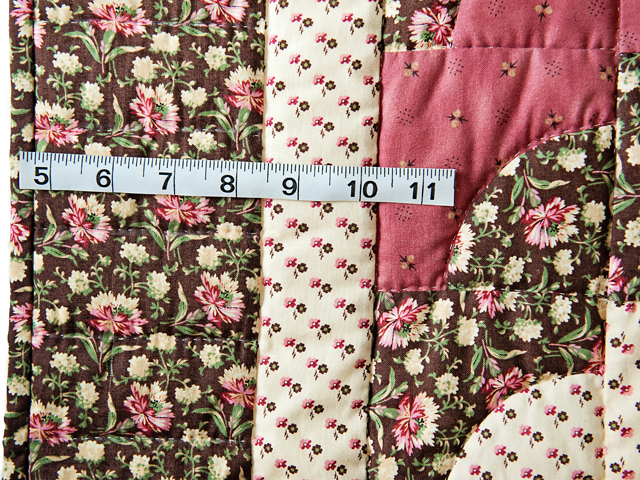 Rose, Brown & Cream Ocean Wave And Hearts Quilt Photo 5