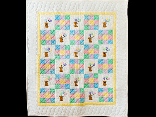Pastel Nine Patch Party Bears Crib Quilt Photo 1