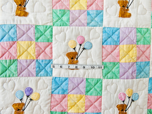 Pastel Nine Patch Party Bears Crib Quilt Photo 3