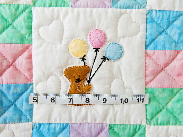Pastel Nine Patch Party Bears Crib Quilt Photo 4