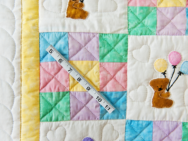 Pastel Nine Patch Party Bears Crib Quilt Photo 5