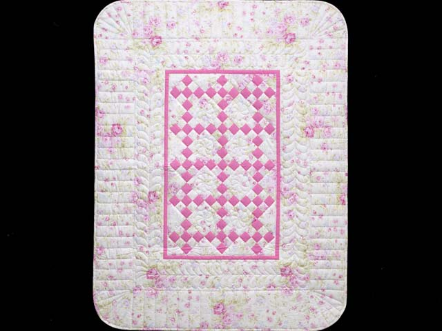 Pink and Cream Floral Nine Patch Crib Quilt Photo 1