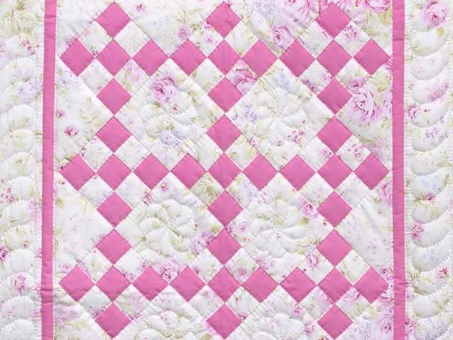 Pink and Cream Floral Nine Patch Crib Quilt Photo 2