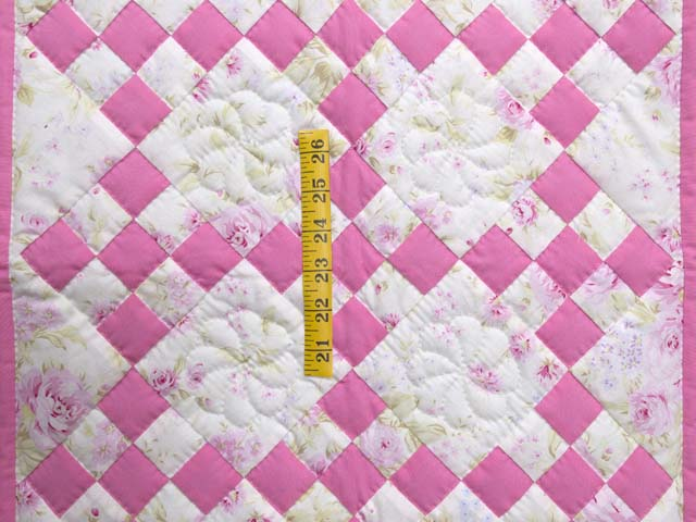 Pink and Cream Floral Nine Patch Crib Quilt Photo 3