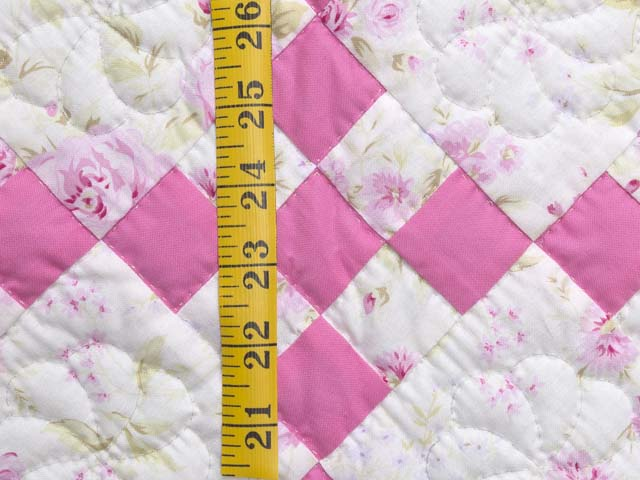 Pink and Cream Floral Nine Patch Crib Quilt Photo 4