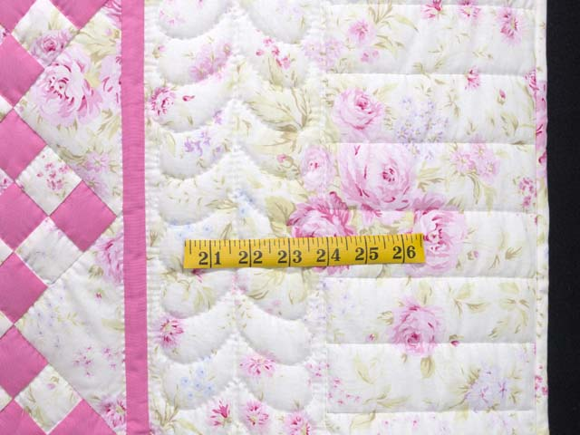 Pink and Cream Floral Nine Patch Crib Quilt Photo 5