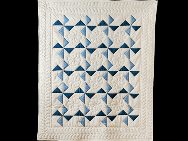 Blue, Navy and Natural Pinwheel Crib Quilt Photo 1