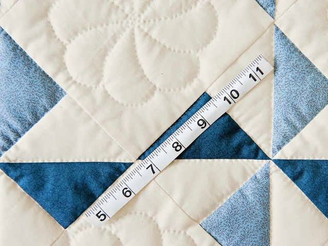 Blue, Navy and Natural Pinwheel Crib Quilt Photo 4