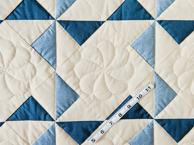 Blue, Navy and Natural Pinwheel Crib Quilt Photo 5