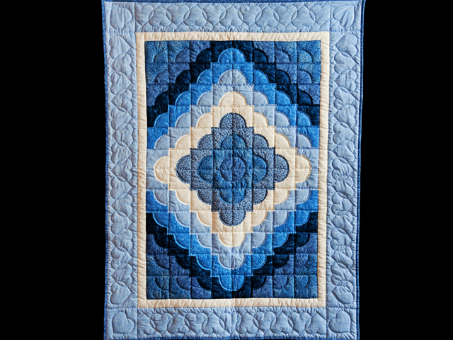 Ocean Wave Shades of Blue Crib Quilt Photo 1