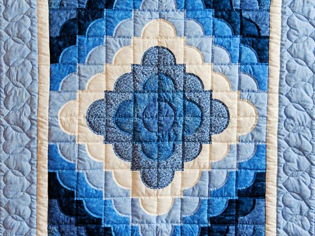 Ocean Wave Shades of Blue Crib Quilt Photo 2