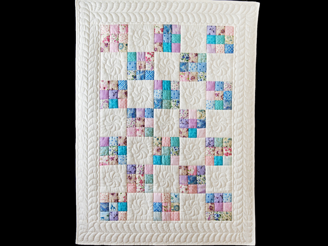 Aqua, Blue, Purple, Pink and White Nine Patch Crib Quilt Photo 1