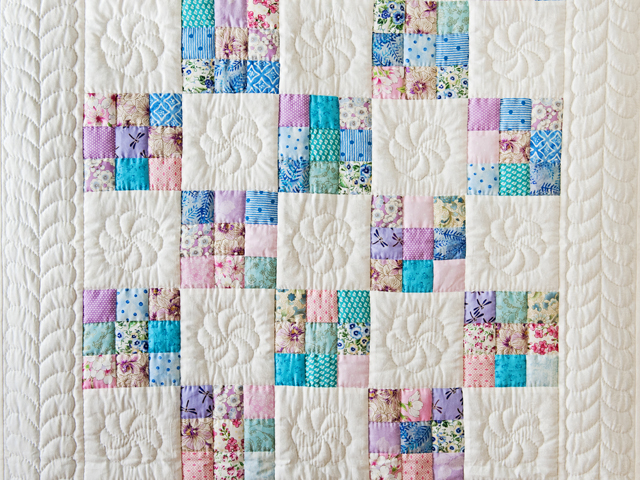 Aqua, Blue, Purple, Pink and White Nine Patch Crib Quilt Photo 2