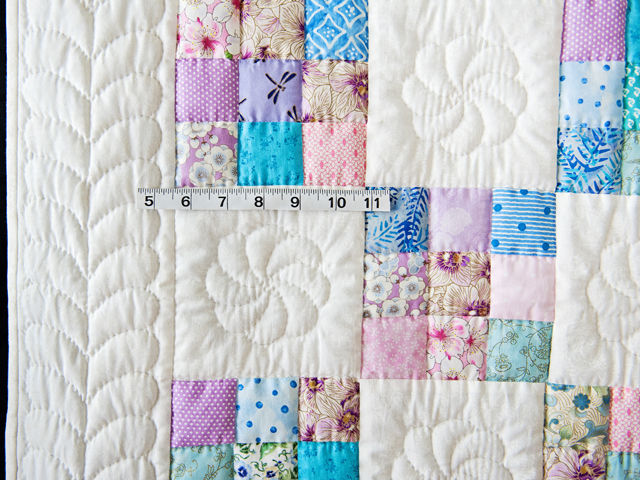 Aqua, Blue, Purple, Pink and White Nine Patch Crib Quilt Photo 3