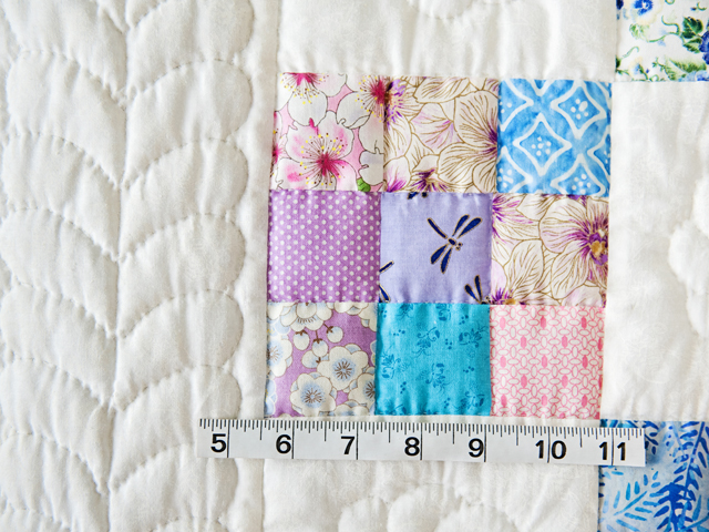 Aqua, Blue, Purple, Pink and White Nine Patch Crib Quilt Photo 5
