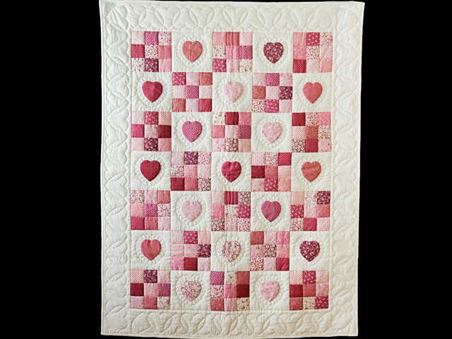 Rose and Cream Hearts & Nine Patch Crib Quilt Photo 1