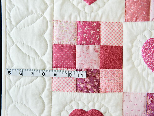 Rose and Cream Hearts & Nine Patch Crib Quilt Photo 4
