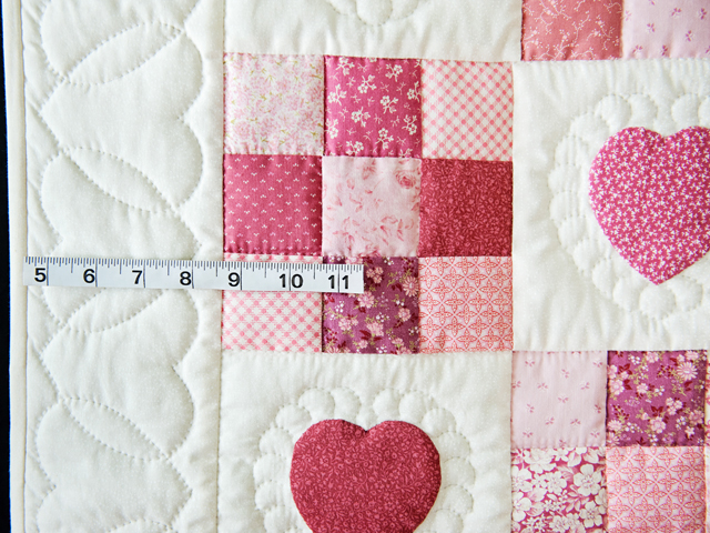 Rose and Cream Hearts & Nine Patch Crib Quilt Photo 5
