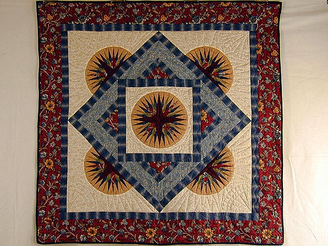 Burgundy and Blue Rising Compass Wallhanging Photo 1