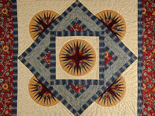 Burgundy and Blue Rising Compass Wallhanging Photo 2