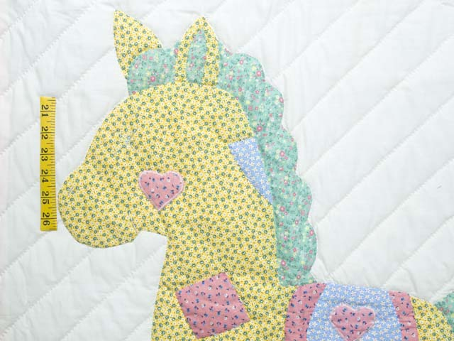Pastel Pink and Blue Rocking Horse Crib Quilt Photo 3