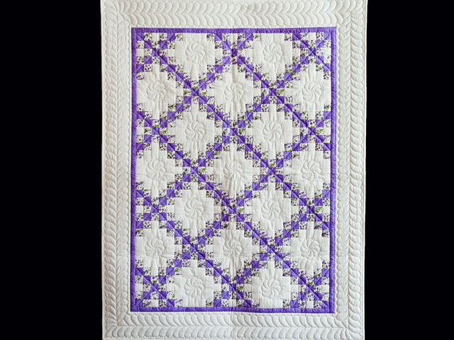 Floral Lavender and Cream Irish Chain Quilt Photo 1
