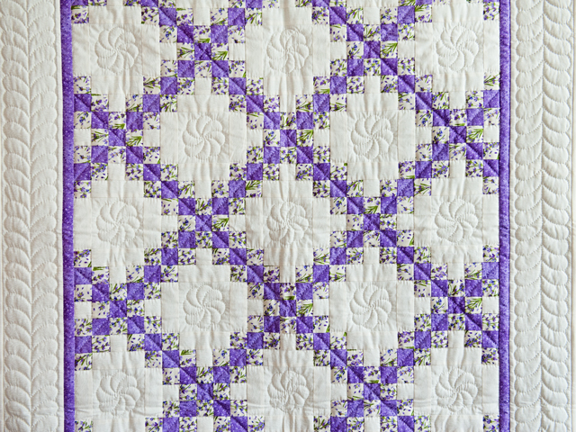 Floral Lavender and Cream Irish Chain Quilt Photo 2