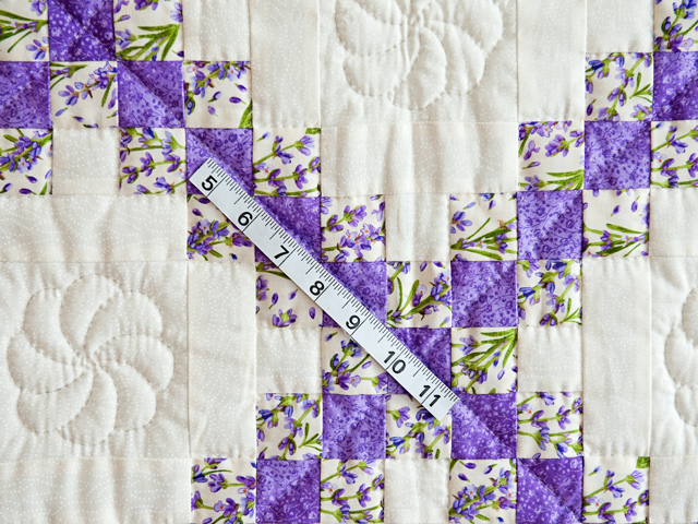 Floral Lavender and Cream Irish Chain Quilt Photo 3