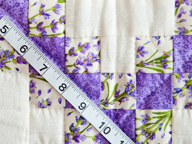 Floral Lavender and Cream Irish Chain Quilt Photo 4