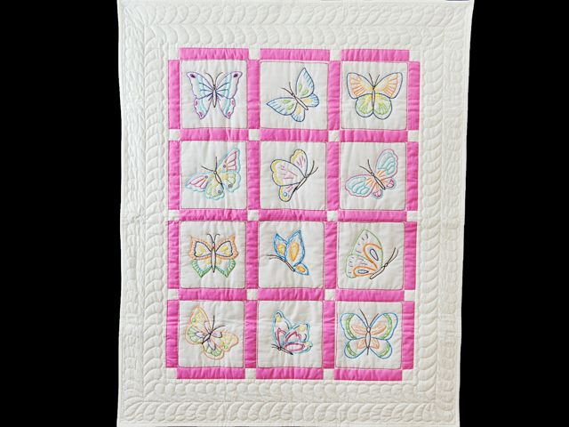 Pink and White Hand Embroidered Butterflies Crib Quilt Photo 1