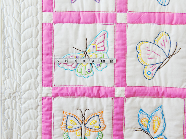 Pink and White Hand Embroidered Butterflies Crib Quilt Photo 3