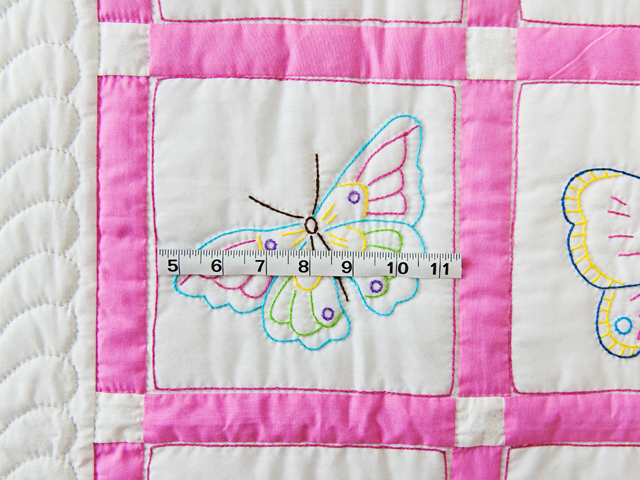Pink and White Hand Embroidered Butterflies Crib Quilt Photo 4