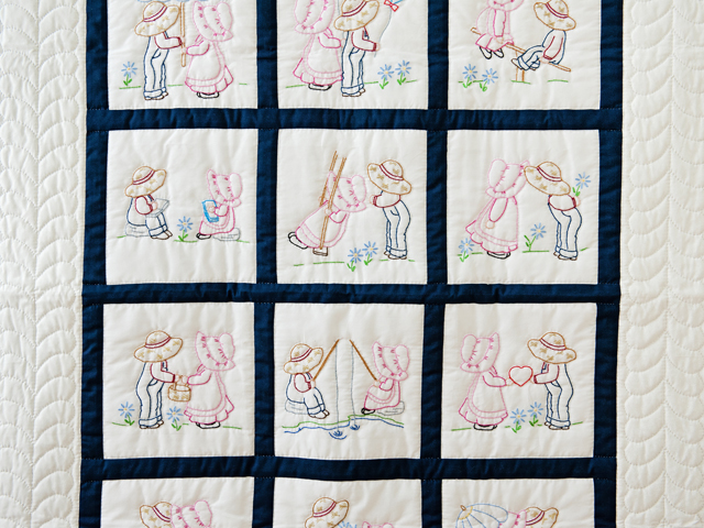 Navy and White Hand Embroidered Crib Quilt Photo 2