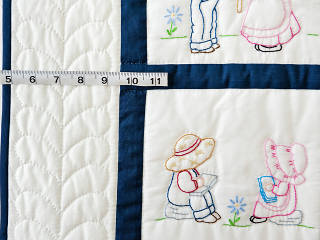 Navy and White Hand Embroidered Crib Quilt Photo 3