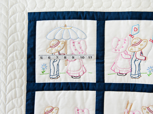 Navy and White Hand Embroidered Crib Quilt Photo 5