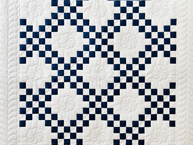 Navy and White Irish Chain Quilt Photo 2