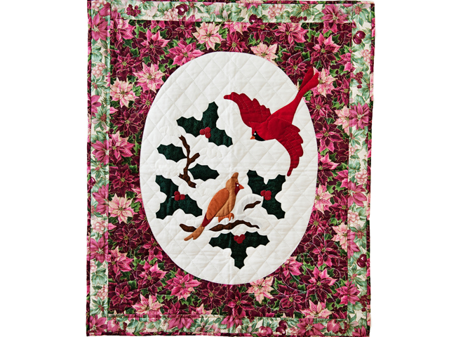 Floral Christmas Cardinals Applique Wall Hanging Photo 1