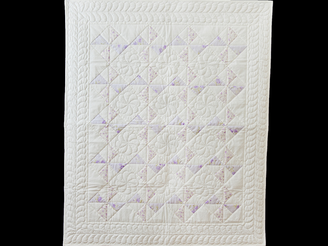 Delicate Lavender and White Pinwheel Crib Quilt Photo 1