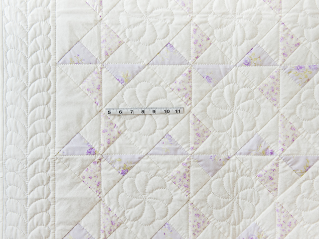 Delicate Lavender and White Pinwheel Crib Quilt Photo 5