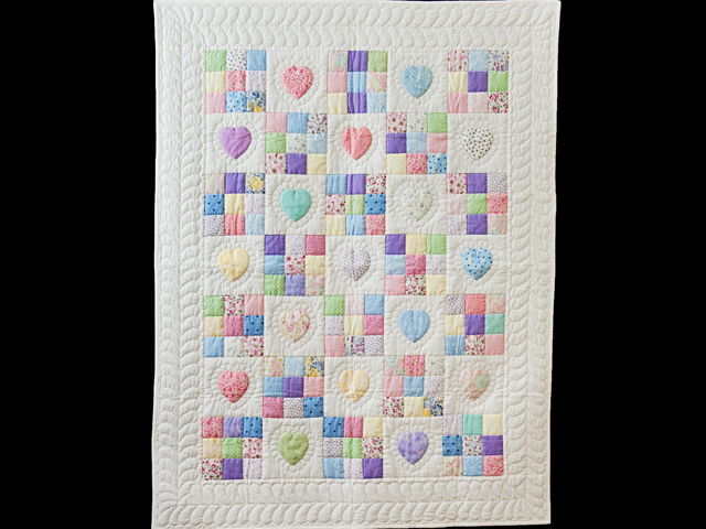Pastel and White Hearts and Nine Patch Crib Quilt Photo 1