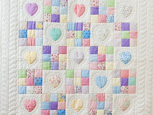 Pastel and White Hearts and Nine Patch Crib Quilt Photo 2